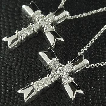 ペアネックレス トップ プラチナ クロス 十字架 ダイヤモンド ペンダント チェーン 人気 ダイヤ カップル レディース 宝石 プレゼント 女性 送料無料