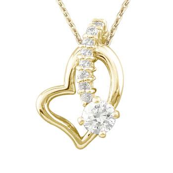 ダイヤモンド オープンハート 誕生石 ネックレス トップ ダイヤ 0.30ct 流れ星 ペンダントネックレス トップ イエローゴールドk18 18k 人気 18金 レディース 女性 送料無料