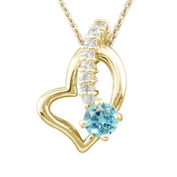 ダイヤモンド オープンハート 誕生石 ブルートパーズ 流れ星 ネックレス 選べる天然石 イエローゴールドk18 18k 人気 18金 ダイヤ レディース 宝石 送料無料