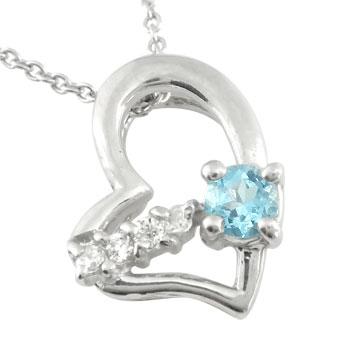 ダイヤモンド オープンハート 誕生石 ネックレス ブルートパーズ ホワイトゴールドk18 18k 選べる天然石 ホワイトゴールドk18 18k 18金 ダイヤ 宝石 送料無料