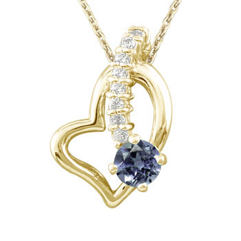 ダイヤモンド オープンハート 誕生石 アイオライト 流れ星 ペンダントネックレス イエローゴールドk18 18k チェーン 人気 18金 ダイヤ レディース 宝石 女性