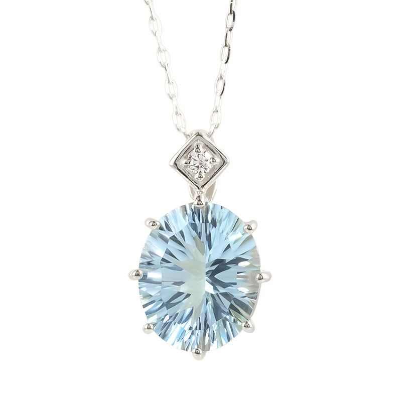 プラチナ ネックレス レディース ブルートパーズ 大粒 ダイヤモンド pt900 ペンダント チェーン 宝石 女性 人気 送料無料