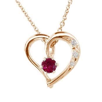 ダイヤモンド オープンハート 誕生石 ネックレス ルビー 7月誕生石 ピンクゴールドk18 18k チェーン 人気 18金 ダイヤ レディース 宝石 女性 送料無料 母の日