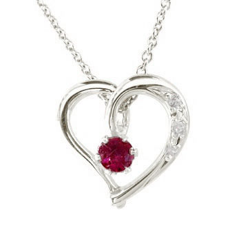 ダイヤモンド オープンハート 誕生石 プラチナルビー ネックレス 7月誕生石 チェーン 人気 ダイヤ レディース 宝石 プレゼント 女性 送料無料