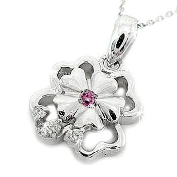 ハワイアンジュエリー ピンクサファイアペンダントダイヤモンド ネックレス ホワイトゴールドk18 18k 0.04ctフラワー花 レディース ダイヤ シンプル 人気 女性