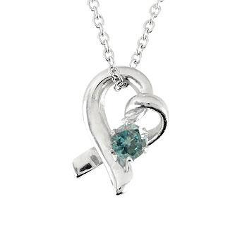 ダイヤモンド オープンハート 誕生石 ネックレス ブルー 一粒ネックレス プラチナ チェーン 人気 ダイヤ レディース プレゼント 女性 送料無料