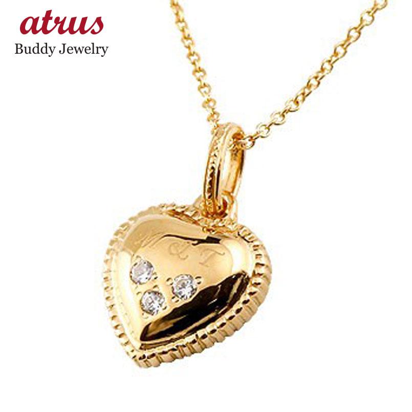 イニシャル ネーム ネックレス ハート ダイヤモンド ダイヤ ペンダント ピンクゴールドk18 18k 18金 刻印 レディース チェーン 人気 プレゼント 女性 送料無料