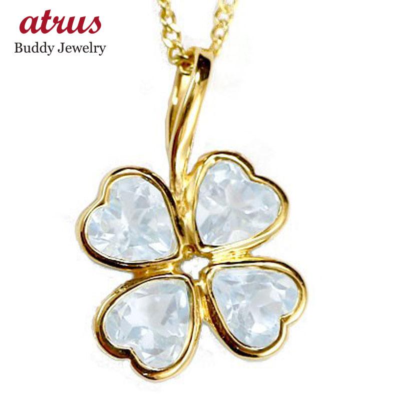 ネックレス レディース ブルームーンストーン クローバー イエローゴールドk10 チェーン 人気 6月誕生石 10金 四葉 四つ葉 ゴールド 10k シンプル 宝石 送料無料 母の日