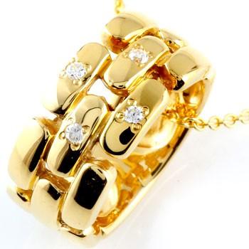 ダイヤモンド ネックレス ペンダント ダイヤ リングネックレス イエローゴールドk18 18k 18金 レディース チェーン 人気 ストレート プレゼント 女性 送料無料