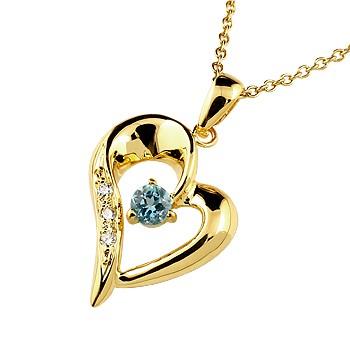 ダイヤモンド オープンハート ネックレス トップ ブルートパーズ ペンダント イエローゴールドk10 10金 レディース チェーン 人気 11月誕生石 ダイヤ 宝石 女性