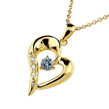 ダイヤモンド オープンハート ネックレス トップ タンザナイト ペンダント イエローゴールドk10 10金 レディース チェーン 人気 12月誕生石 ダイヤ 宝石 送料無料
