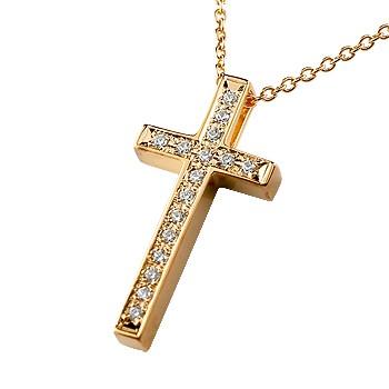 クロス ネックレス ダイヤモンド ペンダント ダイヤ 十字架 ピンクゴールドk18 18k レディース チェーン 人気 18金 プレゼント 女性 送料無料