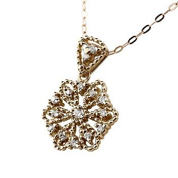 雪の結晶 ネックレス ダイヤモンド ペンダント ピンクゴールドk18 18k ダイヤ スノーモチーフ ミル打ち 18金 レディース チェーン 人気 女性 送料無料