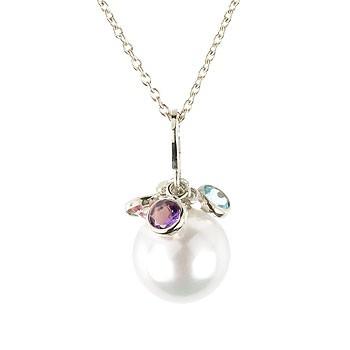 パール 真珠 フォーマル 誕生石 ネックレス 天然石 ホワイトゴールドk18 18k フラワー つぼみ 18金 レディース チェーン 人気 宝石 送料無料