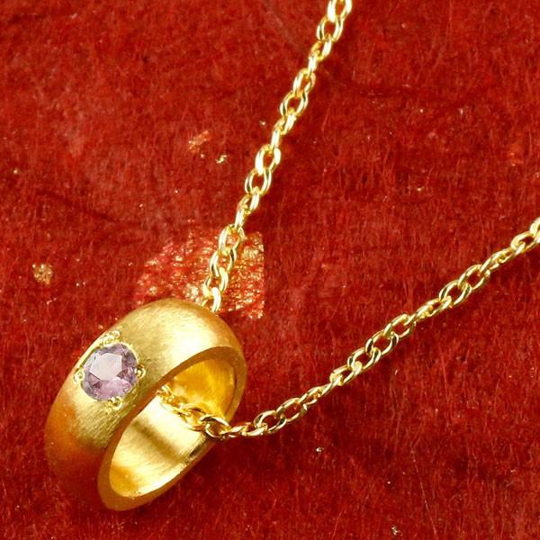 純金 ベビーリング ピンクサファイア 一粒 ペンダント 誕生石 出産祝い ネックレス レディース 9月誕生石 甲丸 24金 ゴールド k24 人気 女性 送料無料