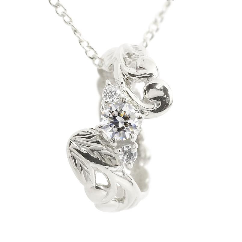 ハワイアンジュエリー ネックレス ダイヤモンド ベビーリング ホワイトゴールドk18 18k チェーン ネックレス レディース 18金 プレゼント 女性 送料無料