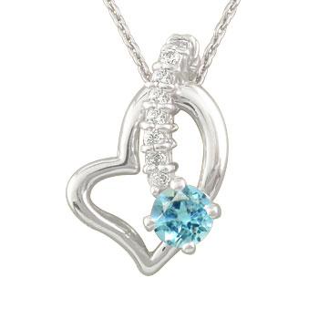 ダイヤモンド オープンハート ブルートパーズ 流れ星 ペンダントネックレス トップ プラチナ ダイヤ レディース 宝石 送料無料
