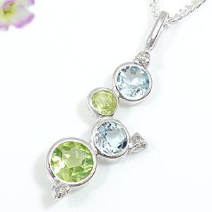 アクアマリン ペリドットペンダントネックレス ダイヤモンド ホワイトゴールドK18 ダイヤ 18金 レディース 宝石 送料無料