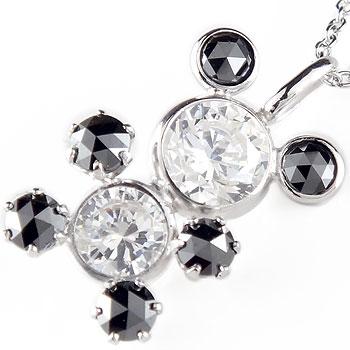 ダイヤモンド ペンダントネックレス ブラックダイヤモンド ローズカット ホワイトゴールドK18アニマルパンダ ダイヤ 18金 レディース 宝石 送料無料