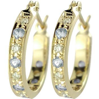 18金 ピアス ダイヤモンド アクアマリン フープピアス イエローゴールドk18 3月誕生石 18金 天然石 ダイヤ 贈り物 誕生日プレゼント ギフト ファッション