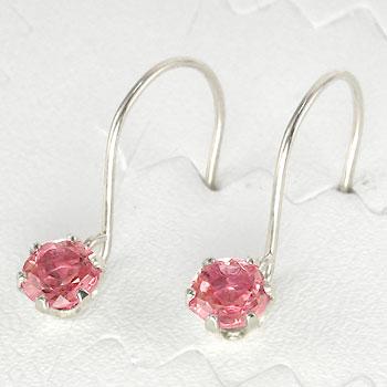ピンクトルマリン プラチナ ピアス 10月誕生石 フックピアス 天然石 贈り物 誕生日プレゼント ギフト ファッション