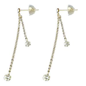 18金 ピアス ダイヤモンド イエローゴールドK18 ピアス ロングピアス ピアス18金 天然石 ダイヤ チェーン 贈り物 誕生日プレゼント ギフト ファッション