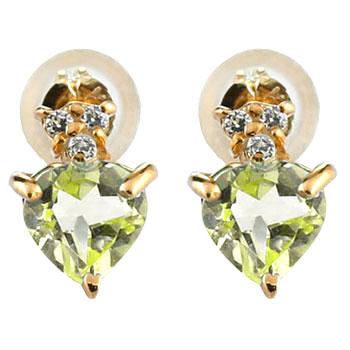 18金 ピアス ハート ピアス ペリドット ダイヤモンド ピンクゴールドk18 8月誕生石 18金 天然石 ダイヤ 贈り物 誕生日プレゼント ギフト ファッション