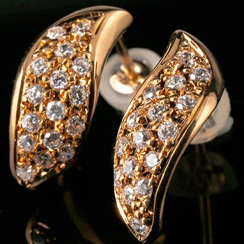 18金 ピアス パヴェピアス ダイヤモンド ダイヤ スタッドピアス ピンクゴールドk18 レディース 18金 天然石 贈り物 誕生日プレゼント ギフト ファッション お返し