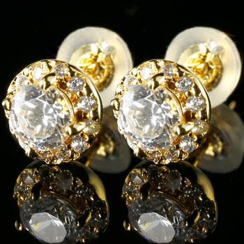 大粒ダイヤモンド スタッドピアス 人気 メンズ ダイヤモンド ピアス 大粒 ダイヤ イエローゴールドk18 取り巻き ダイヤ 18金 男性用 エンゲージリングのお返し 送料無料