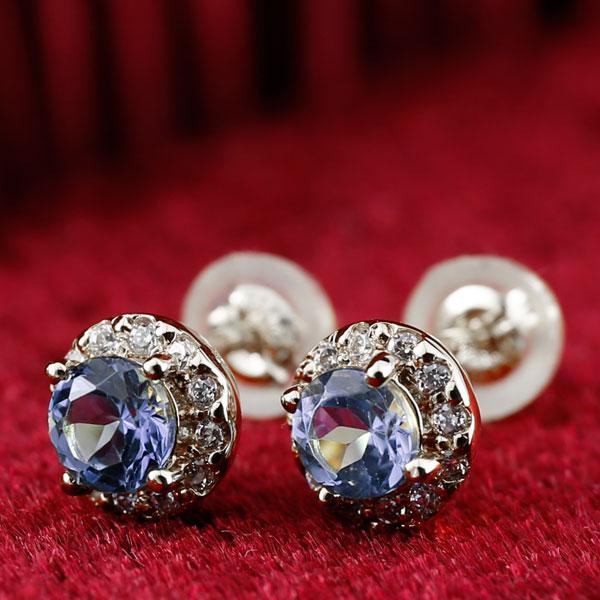 【送料無料】タンザナイト ダイヤモンド ピアス 大粒 取り巻き スタッドピアス ホワイトゴールドk18 12月誕生石 レディース ダイヤ 18金 宝石 ファッション お返し