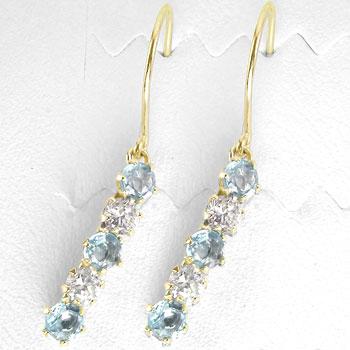ギフト お返し 宝石 ピアス ダイヤモンド プレゼント 18金 アクアマリン 天然石 18金 ファッション 揺れる フックピアス 3月誕生石 レディース イエローゴールドk18 ダイヤ 贈り物