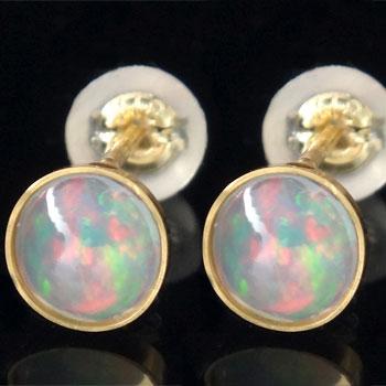 18金 ピアス オパール ピアス イエローゴールドk18 オパール 10月誕生石 18金 天然石 レディース 宝石 ギフト 贈り物 プレゼント ファッション お返し