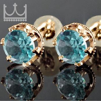 18金 ピアス ピアス ブルートパーズ スタッドピアス 王冠 ピンクゴールドk18 18金 宝石 ギフト 贈り物 プレゼント ファッション