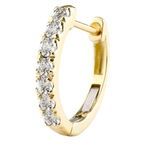 メンズ 片耳 天然ダイヤモンド フープピアス イエローゴールドk10 中折れ式ピアス 4月誕生石 天然石 ダイヤ 10金 宝石 ピアス男性