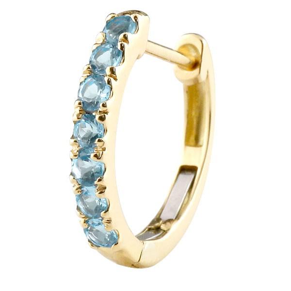 片耳 ピアス ブルートパーズ フープイエローゴールドk18 中折れ式ピアス 11月誕生石 天然石 18金 レディース 宝石