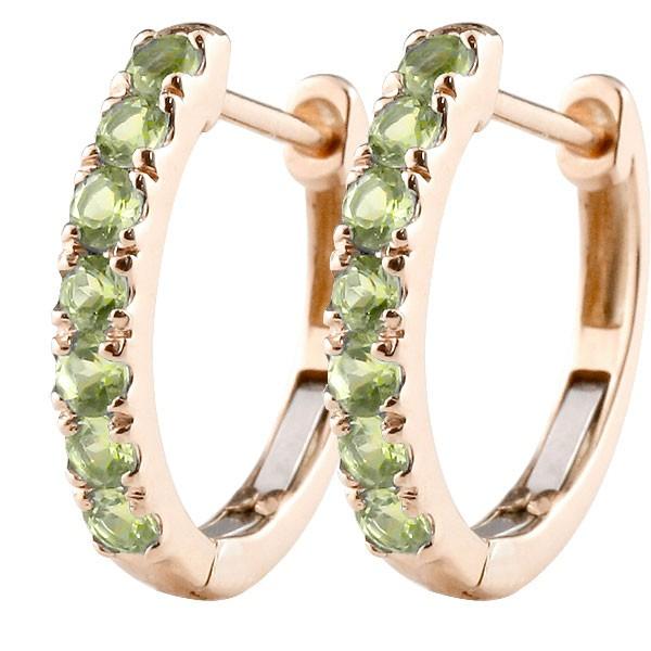 ピアス 手作り 人気 新発売 レディース 天然石 宝石 送料無料 メンズ 中折れ式ピアス リング 緑の宝石 10金 8月誕生石 ピンクゴールドk10 ペリドット フープピアス 格安