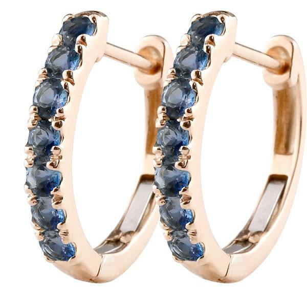 メンズ サファイア フープピアス ピンクゴールドk10 中折れ式ピアス 9月誕生石 天然石 10金 宝石 ピアス男性 父の日