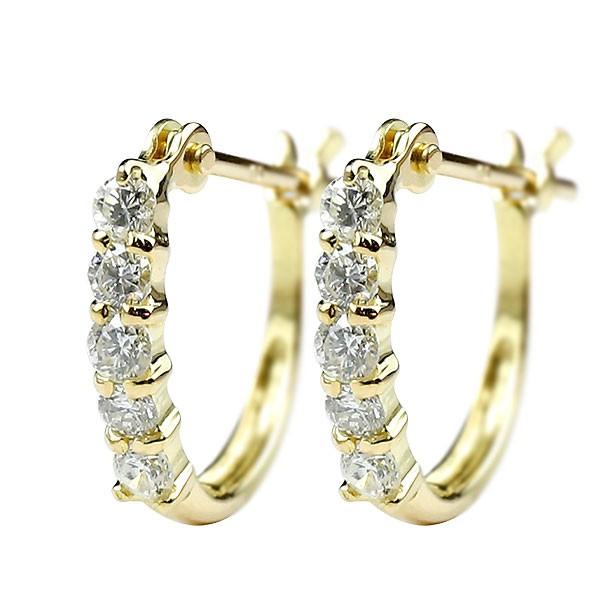ダイヤモンドピアス フープピアス イエローゴールドk18 ダイヤ レディース シンプル 人気 18金