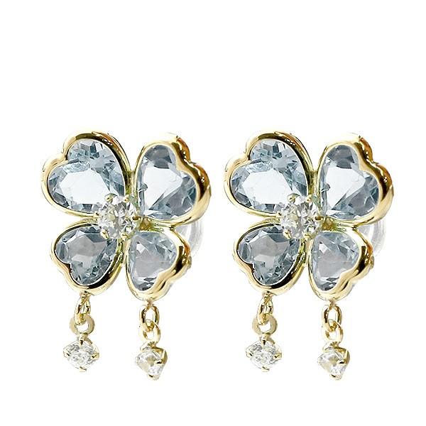 ピアス イエローゴールドk18 アクアマリン 蝶々 ちょうちょ バタフライ ダイヤモンド 18金 スタッドピアス 宝石 レディース
