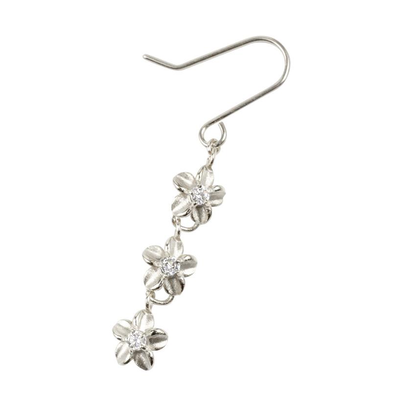 ハワイアンジュエリー 片耳ピアス プラチナ ダイヤモンド プルメリア フックピアス ロングピアス pt900 花 フラワー ピアス シンプル 送料無料 母の日