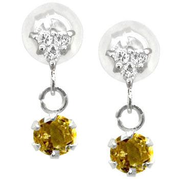 プラチナ ピアス ダイヤ シトリンピアス ダイヤモンドピアス プラチナダイヤモンド 0.08ct 天然石 ダイヤ レディース 宝石 お返し