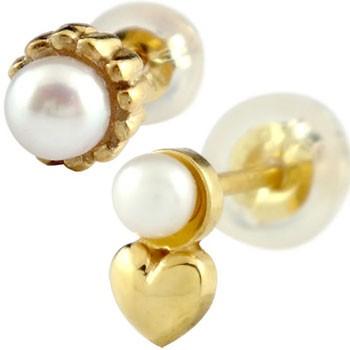 ペアピアス 片耳ピアス スタッドピアス イエローゴールドk18 パール ハート 18金 カップル 宝石 真珠 フォーマル 18k 送料無料