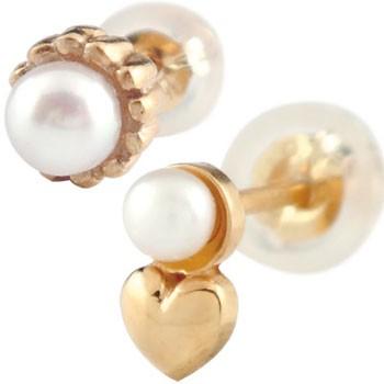 ペアピアス 片耳ピアス スタッドピアス ピンクゴールドk18 パール ハート 18金 カップル 宝石 真珠 フォーマル 18k 送料無料
