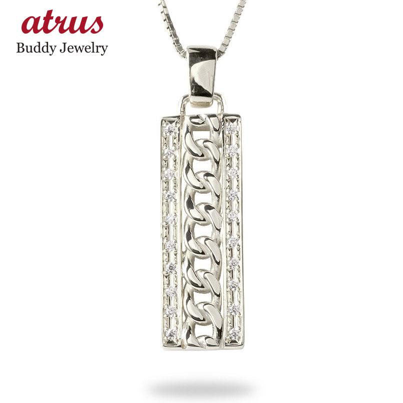 ゴールド ネックレス トップ メンズ ダイヤモンド 喜平 プレート ペンダント 10k 10金 ホワイトゴールドk10 シンプル キヘイチェーン 男性 送料無料