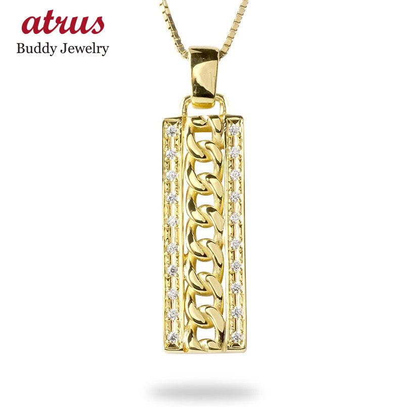 ゴールド ネックレス トップ メンズ ダイヤモンド 喜平 プレート ペンダント 10k 10金 イエローゴールドk10 シンプル キヘイチェーン 男性 送料無料