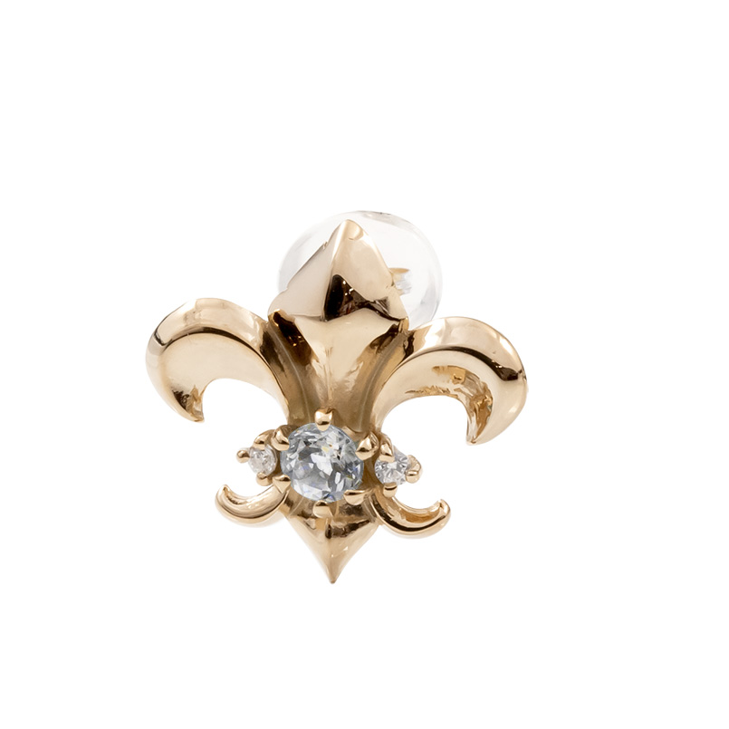 メンズ 片耳ピアス ピンクゴールドk18 ユリの紋章 ダイヤモンド スタッドピアス 18金 4月誕生石 フルール・ド・リス 男性用 人気 送料無料