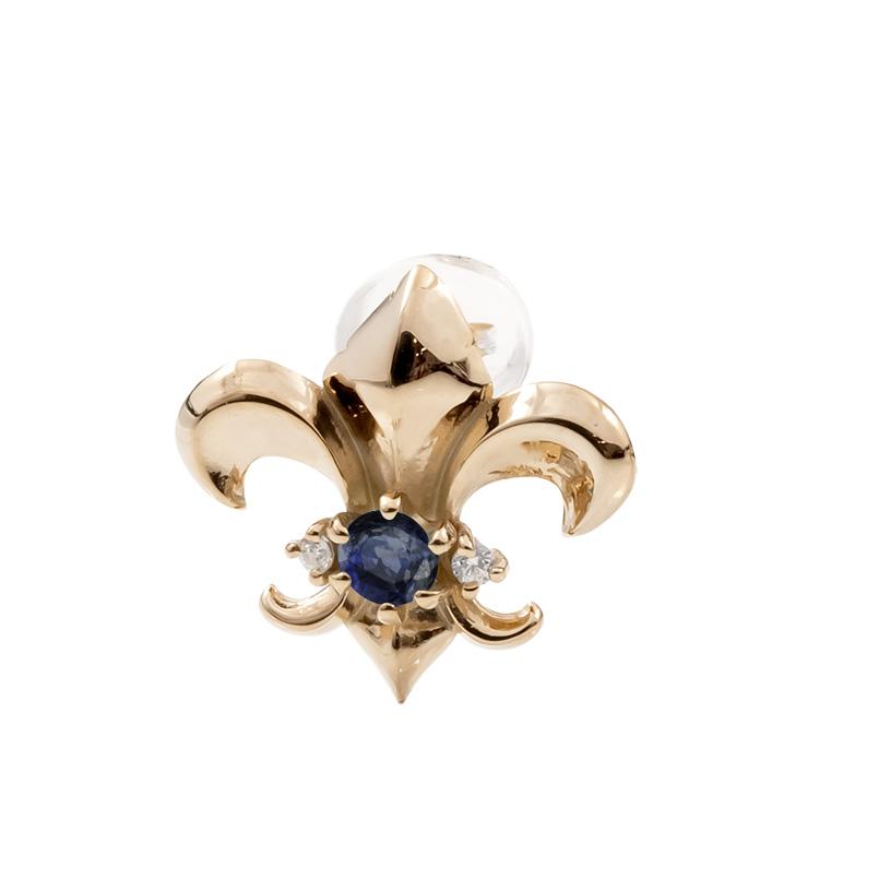 メンズ 片耳ピアス ピンクゴールドk10 ユリの紋章 サファイア ダイヤモンド スタッドピアス 10金 9月誕生石 フルール・ド・リス 男性用 送料無料 父の日