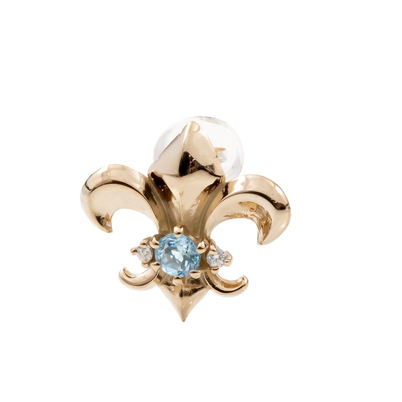 メンズ 片耳ピアス ピンクゴールドk10 ユリの紋章 ブルートパーズ ダイヤモンド スタッドピアス 10金 11月誕生石 フルール・ド・リス 男性用 送料無料