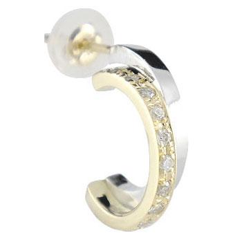 ピアス プラチナ 片耳ピアス ダイヤモンド プラチナ イエローゴールドk18 コンビピアス ダイヤ 18金 送料無料