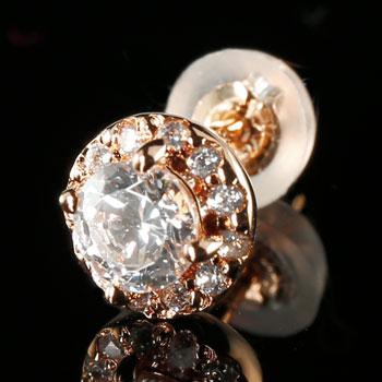 ピアス レディース 片耳ピアス ダイヤモンド 大粒 ダイヤ ピンクゴールドk18 ダイヤ 18金 送料無料